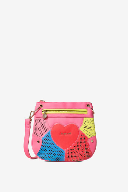 Tracolla con cuore e patch multicolore