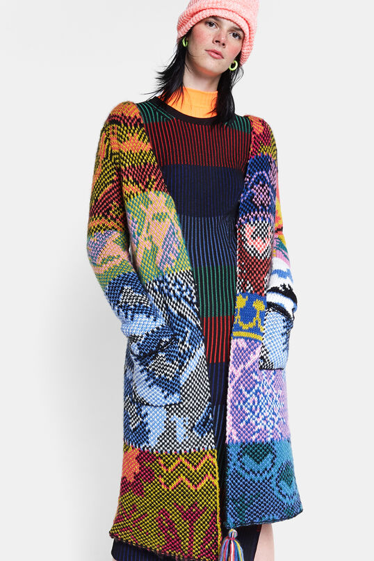 Long patch knitted jacket | Desigual