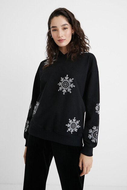 Sweatshirt with Swiss embroidery