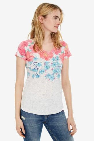 T-shirt empiècement fleuri Florentina