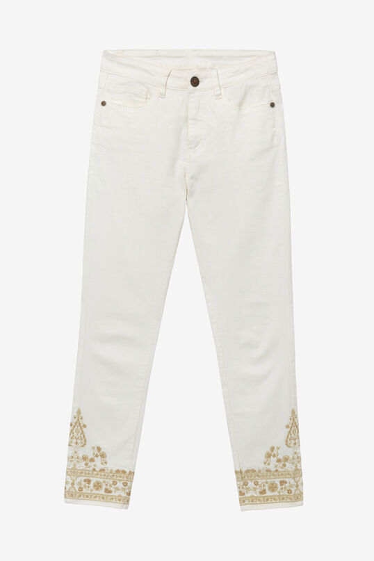 Skinny trousers with lurex embroidery at the ankles | Desigual