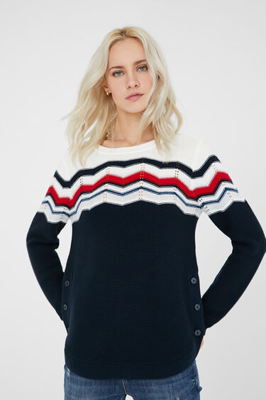 Striped jumper side buttons | Desigual