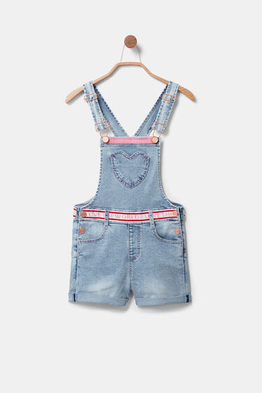 Short denim overall with heart | Desigual