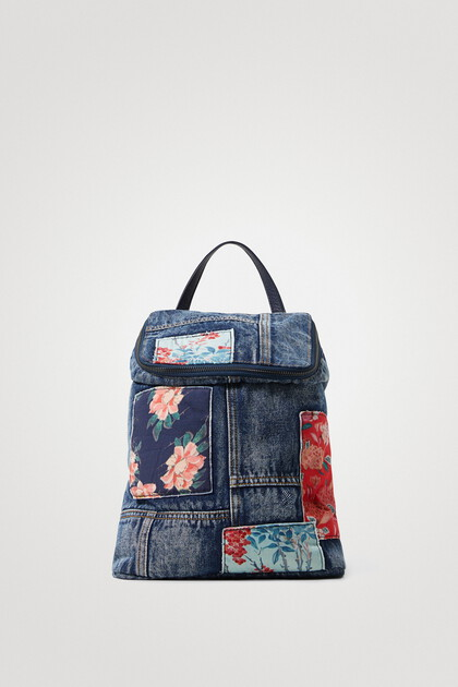 Denim patches backpack