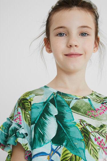 T-shirt fleurs manches à volants | Desigual
