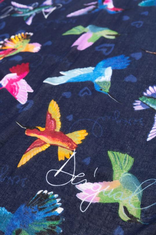 Mocador quadrat colibrís de colors | Desigual