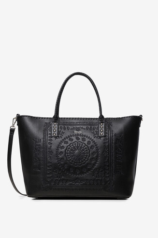 Synthetic leather embossed shopping bag