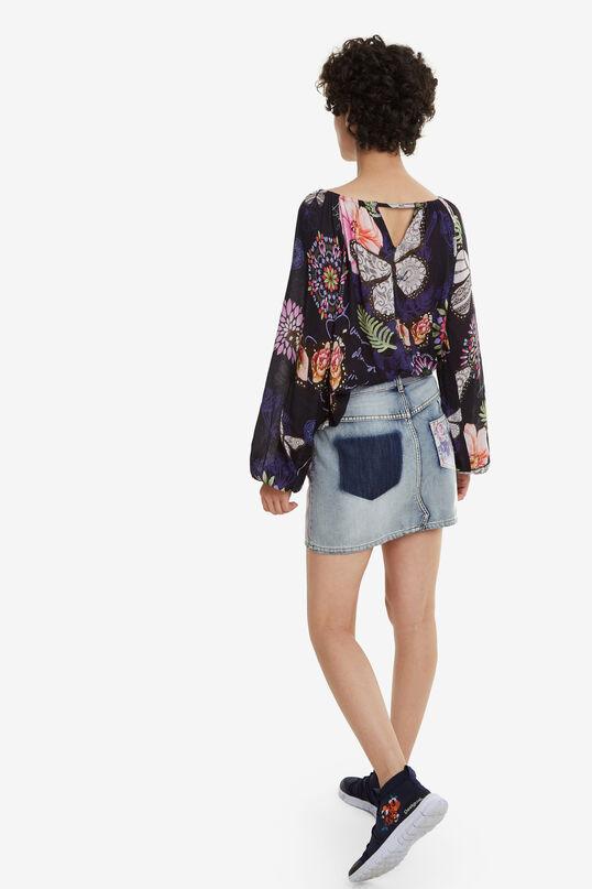 Denim Miniskirt Roses | Desigual