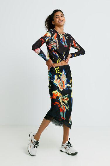 Slim midi-skirt print | Desigual