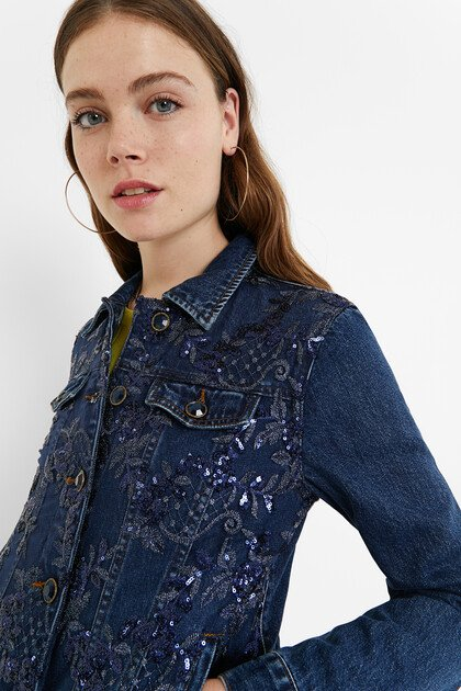 Denim jacket floral embroidery