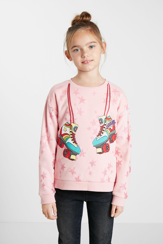 Oversize plush sweatshirt - RED - 3/4