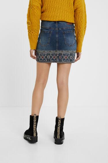 Jeans-Minirock mit Stickereien | Desigual