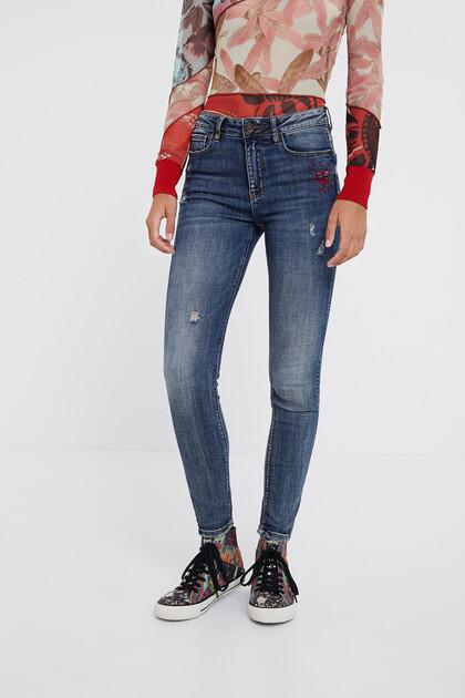 Spodnie dżinsowe rurki z motywem serca