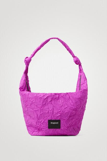Wrinkled paper effect shoulder bag