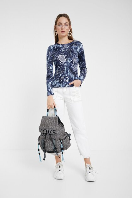 Large floral print sweater