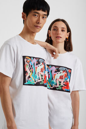 Organic T-shirt with painting by Miranda Makaroff