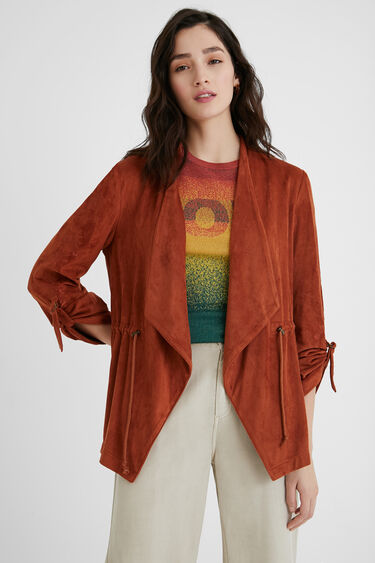 Open blazer leather effect | Desigual