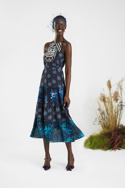 Midi dress embroidered halter