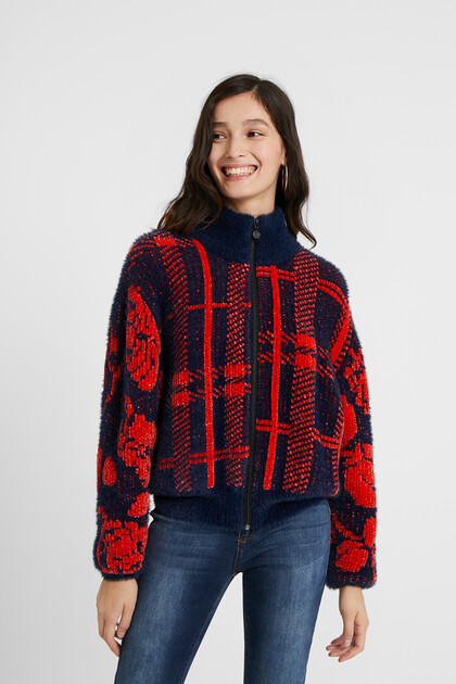 Knit high neck jacket
