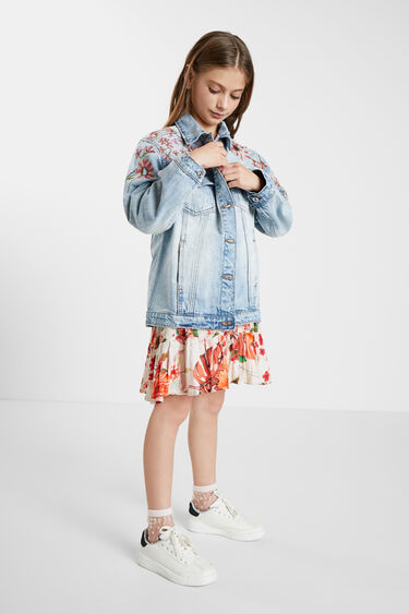 Oversize embroidered denim jacket | Desigual