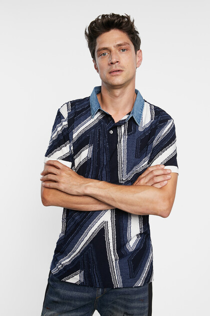 Jacquard polo shirt geometrical shapes