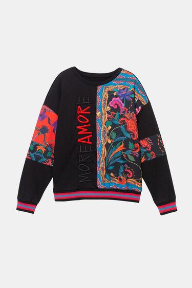 Soul mate print cotton sweatshirt | Desigual