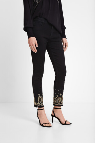 Elastic cropped trousers