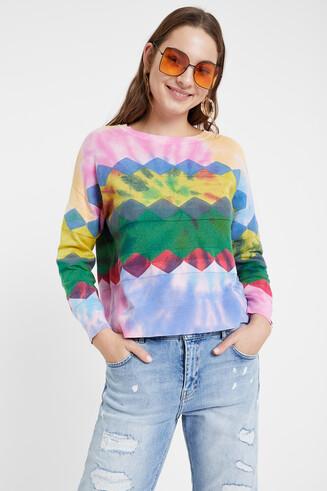 Cienki sweter w romby z efektem odbarwienia