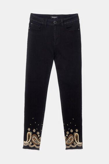 Skinny fit trousers embroidered ankles | Desigual