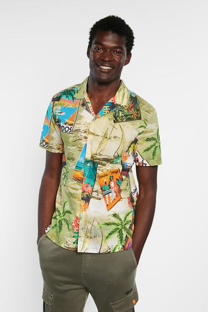 Camisa 100% algodão havaiana