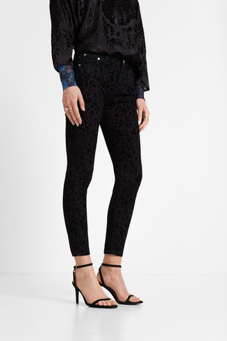 Slim denim trousers floral flocking
