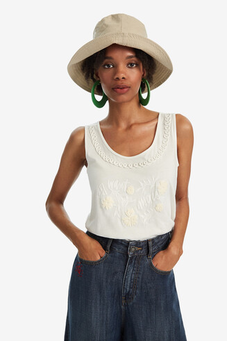 Basic strappy T-shirt with tone-on-tone embroidery