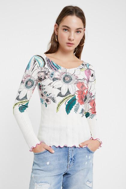 リブ付き 花柄 Tシャツ