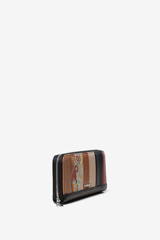 Leather effect wallet of coloured strips and paisley embroidery | Desigual