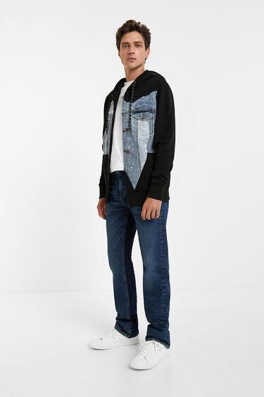 Cotton sweatshirt denim embellishment | Desigual