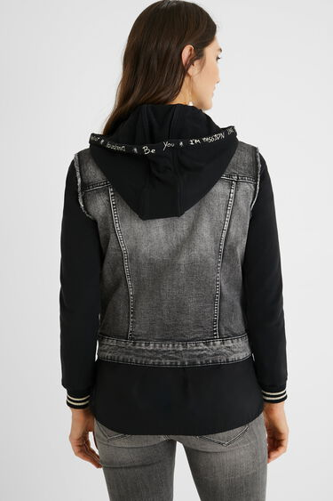 Bimaterial hooded trucker jacket | Desigual