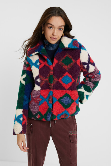 Short multicolour fur jacket
