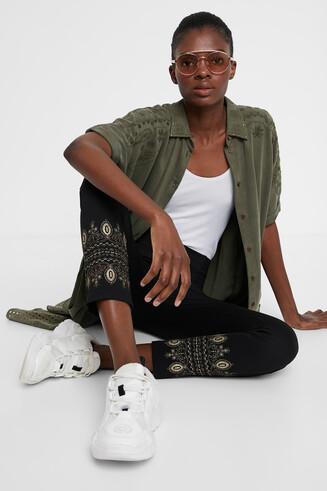 Ethnic cropped leggings