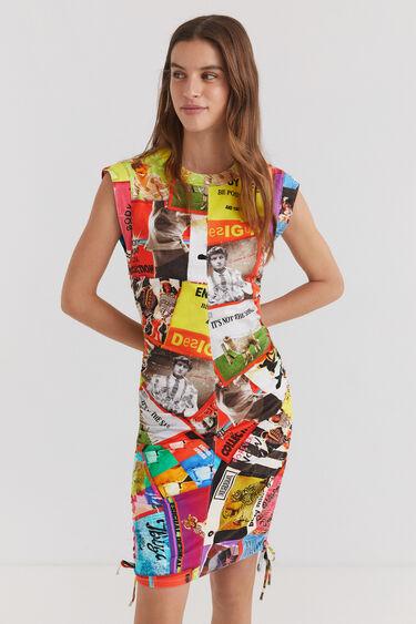 Robe slim courte plissable | Desigual