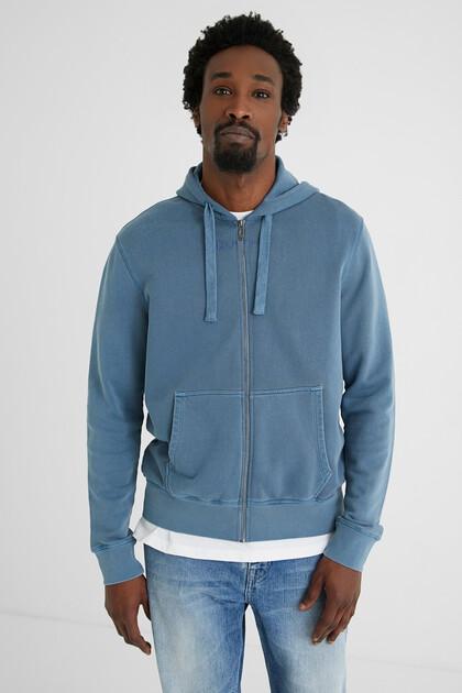 Plush hooded sweatshirt jacket
