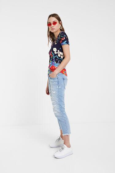 T-shirt met tropische bloemenprint | Desigual