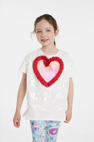 T-shirt met hart van pailletten