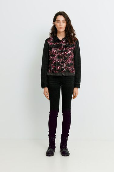 Giacca di jeans slim paillettes | Desigual