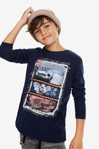 Basic long-sleeve positional print T-shirt
