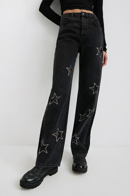 Slim fit jeans met glittersterren