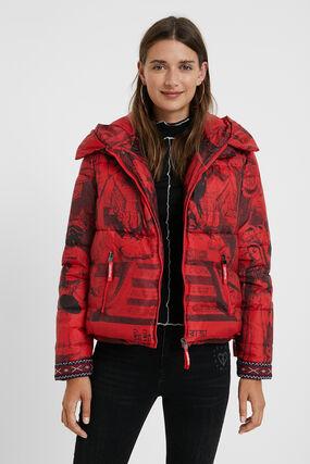 Short padded print jacket