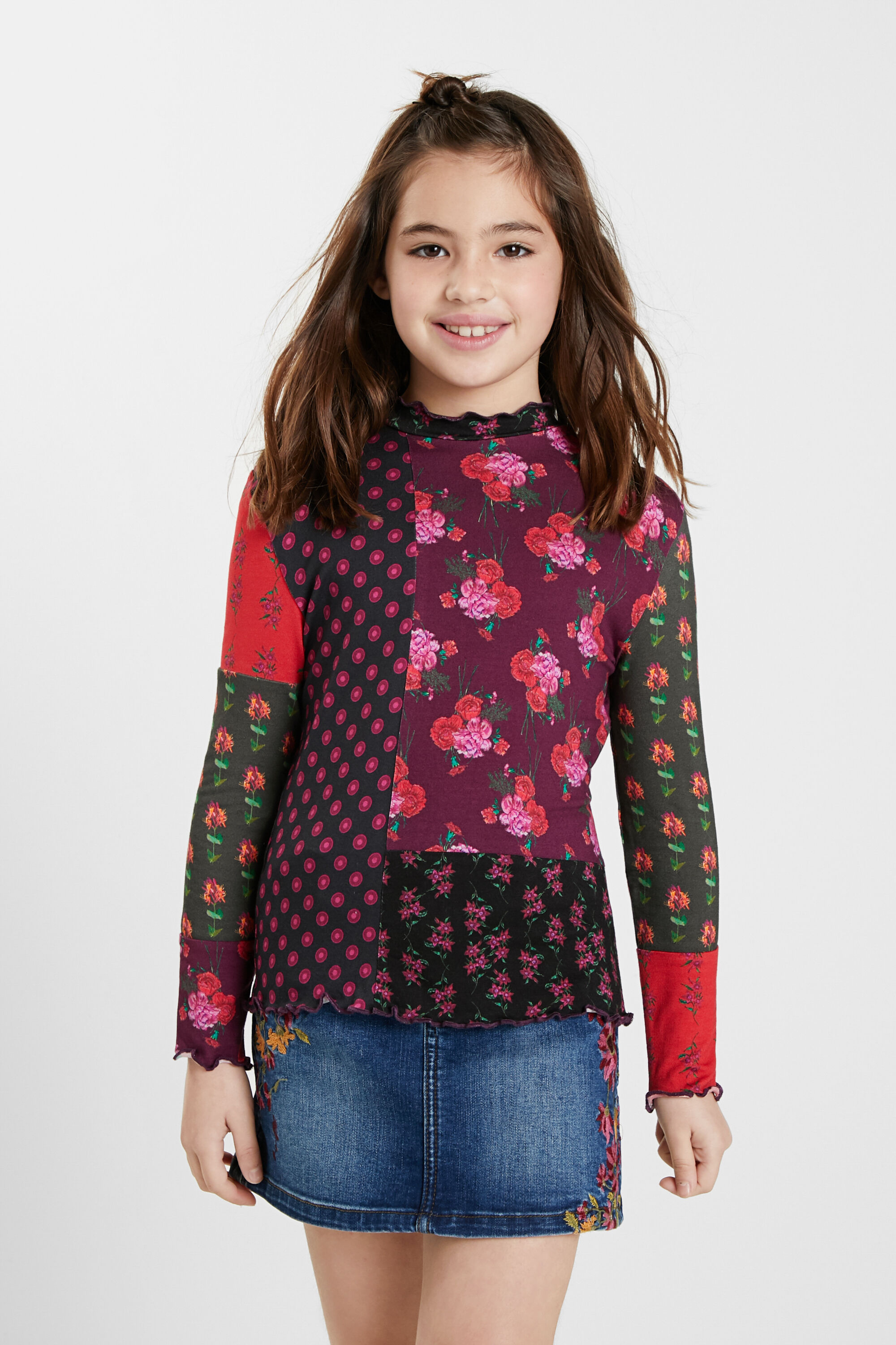 T-shirt patch flowers - RED - 3/4