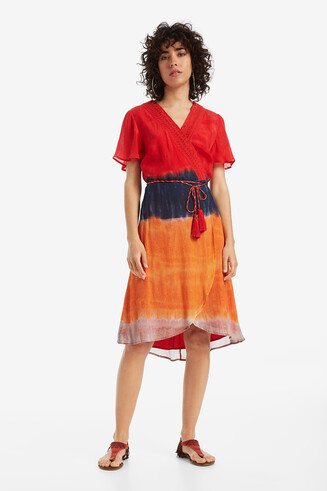 Tie-dye V-neck Wrap Dress Temis