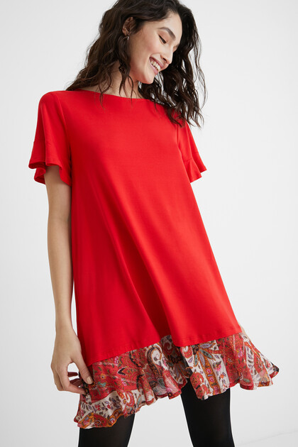 Flared T-shirt dress flounced hem