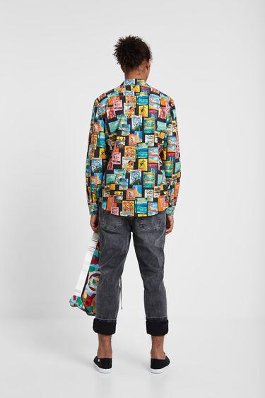 Camisa de popelín màniga llarga print postals   Desigual